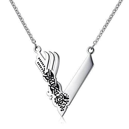Collares para Hombre Colgantes Joyería Collar De Amuleto Vikingo, Collares De Acero Inoxidable para Hombre, Joyería Escandinava Nórdica Plateada