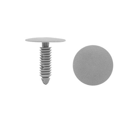 sourcing map 50pcs 7mm Trou en plastique poussoir Rivet Attache Porte Pare-choc gris Pin Clip