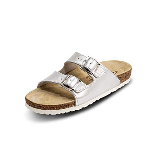 VITAFORM® Damen Und Herren Pantolette Sandale Echt Leder Mit Naturkork – Bequemer Hausschuh Mit Luftpolsterfußbett (Silber, Numeric_37)