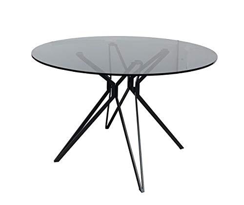 Meubletmoi - Mesa redonda de 120 cm, bandeja de cristal ahumado, estructura de acero en estrella – Diseño contemporáneo – Viko