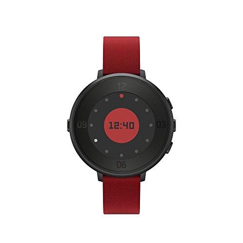 Pebble Time Round Smartwatch con Cinturino in Pelle, 14 mm, Nero/Rosso