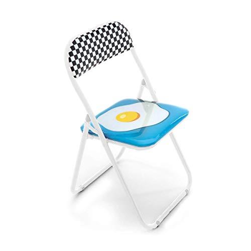 Seletti Blow Egg Chaise Pliante avec décor Oeuf