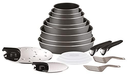 Tefal Ingenio Essential Batterie de cuisine 17 pièces, 3 casseroles, 3 poêles, 1 poêle wok, 1 sauteuse, 2 poignées, 7 accessoires, Compatible tous sauf induction L2049002
