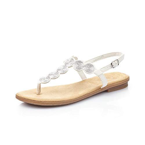 Rieker Damen Sandalen 64291, Frauen Zehentrenner, elegant Women's Women Woman Freizeit leger Sandale Sandalette bequem Lady,Weiss / 80,39 EU / 6 UK