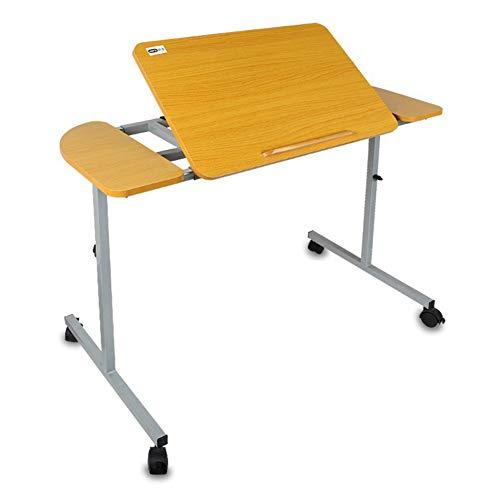 Draagbare Overbed/kaptafel, Stevige Laptop Desk met Wielen, Verstelbare Hoogte en Hoek, Kan Lift, Laadcapaciteit 15kg, voor Schrijven, Eten en Desktop Oppervlak