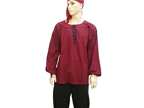 Trollfensen Mittelalterliches Hemd Langarmhemd Salman Farbe Rot S 100% Baumwolle, LARP-Gewandung Herren Rollenspiel Cosplay