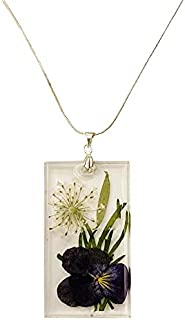 Aga Dried Flower Rectangular Shaped Handmade Resin Pendant Sterling Silver Necklace for Women - Green and Purple