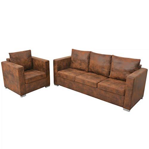 Canapé droit 2 places Marron Cuir Vintage