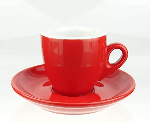 Moka Consorten | Extra dickwandige Espressotassen | 0,8 cm Wandstärke | rot | 6 Tassen + 6 Untertassen (rot)