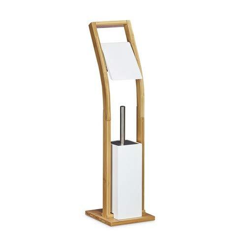 Relaxdays Stand WC Garnitur Holz HBT 75 x 19 x 19 cm Toilettenbürstenhalter aus Bambus mit Toilettenpapierhalter und Klobürste als Klorollenhalter freistehend WC Bürstengarnitur, natur weiß