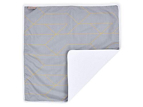 KraftKids Wickeltischunterlage goldene Linien auf Grau, Windelmatte aus 100% Baumwolle, wasserundurchlässige Reise-Wickelunterlage
