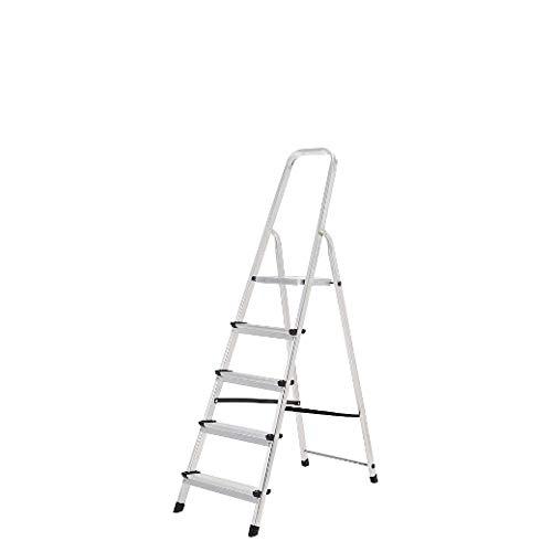ORYX 23010003 Escalera Aluminio 5 Peldaños Plegable, Uso doméstico, Antideslizante, Ligera y Resistente