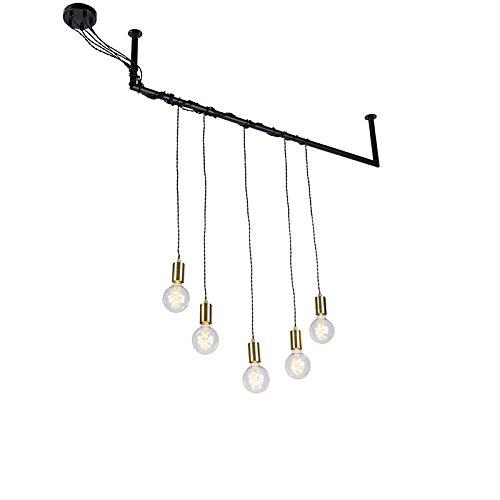 QAZQA Industrieel Industriele hanglamp messing 5-lichts met steigerbuis ophanging - Cavoba Metaal/Steen/Beton Overig Geschikt voor LED Max. 5 x 60 Watt