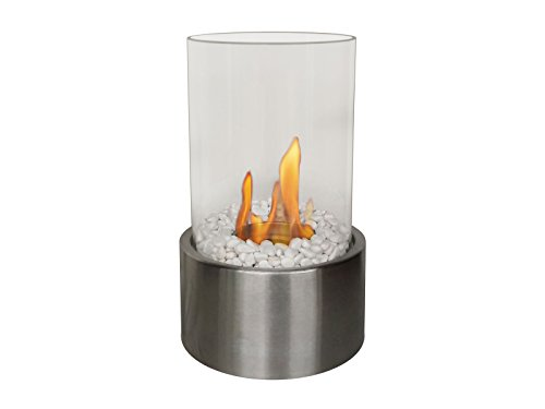 PURLINE DISIS Tischkamin mit zylindrischem Glas geeignet für den Innen- und Außenbereich