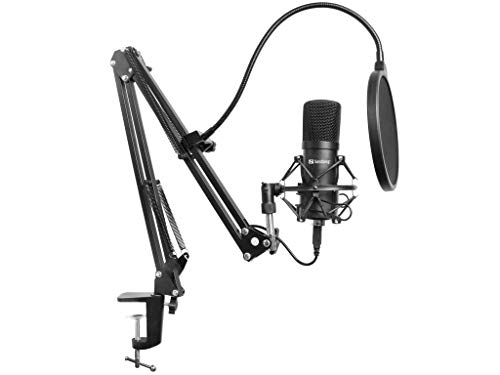 Sandberg Streamer USB Microphone Kit - Micrófono (Micrófono de Estudio, -27 dB, 30-16000 Hz, 24 bit, 96 kHz, Unidireccional)