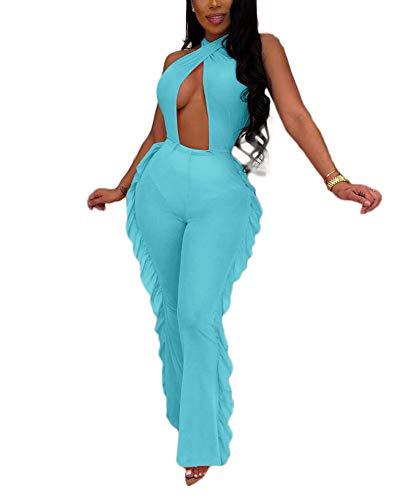 Macacão feminino com contas e pérola transparente, 2 peças, top curto e calça comprida com babados vazados, Bandage One Piece Blue, Medium