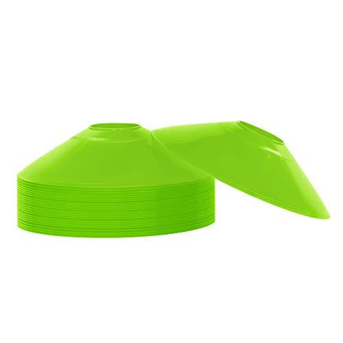 REEHUT Coni da Allenamento di Agilità Set di 25 Coni da Sport con Supporto in Plastica & E-Book Mini Dischi Coni Marcatori Perfetto per Calcio, Rugby e Qualsiasi Altro Gioco di Palla - Verde