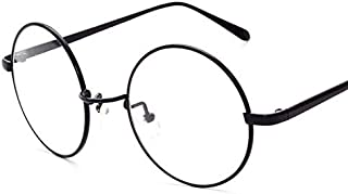 Korean Style Black Frame Flat Glasses Classic Vintage Round Clear Lens Eyewear With Case