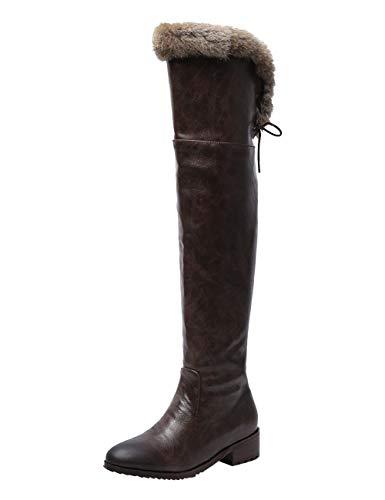 BIGTREE Damen Hohe Stiefel Gefüttert Winter Leder Overknees Reitstiefel Mode Stiefeletten mit Blockabsatz Flandell Kaffee 46 EU
