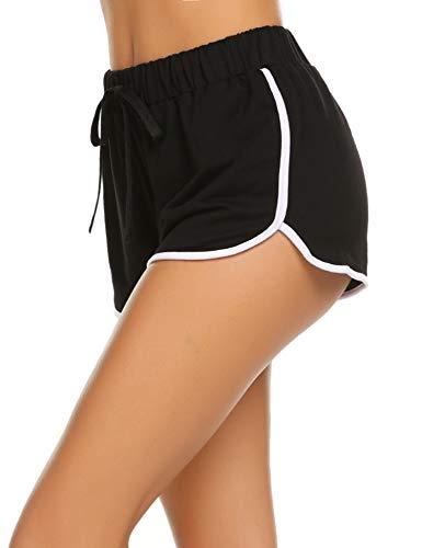 Avidlove Damen Kurze Hose Shorts Schlafanzughose Schlafhose Yoga Sporthose Running Gym Beiläufige Elastische Shorts, Schwarz, Gr. XL(46)