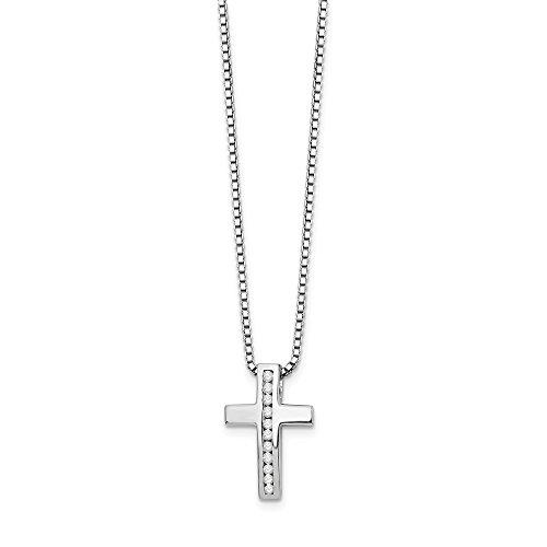 Anillo de plata de ley 925 pulido con diamante blanco de hielo religioso, colgante de cruz de la fe religiosa, regalo de joyería para las mujeres - 46 centímetros