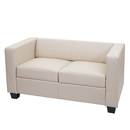 Mendler 2er Sofa Couch Loungesofa Lille - Kunstleder, Creme