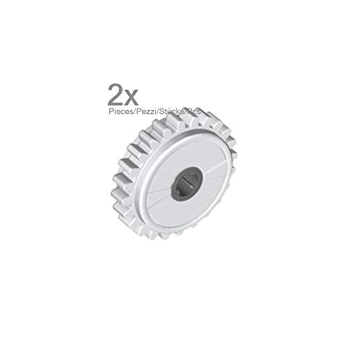 LEGO Technic - 2 Zahnräder 24 Zähne mit Rutschkupplung in Weiss.