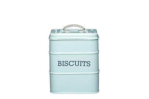 KitchenCraft Living Nostalgia Luftdichte Keksdose aus Metall, Keksbehälter/Aufbewahrungsbehälter 14,5 x 19 cm – Vintage Blue