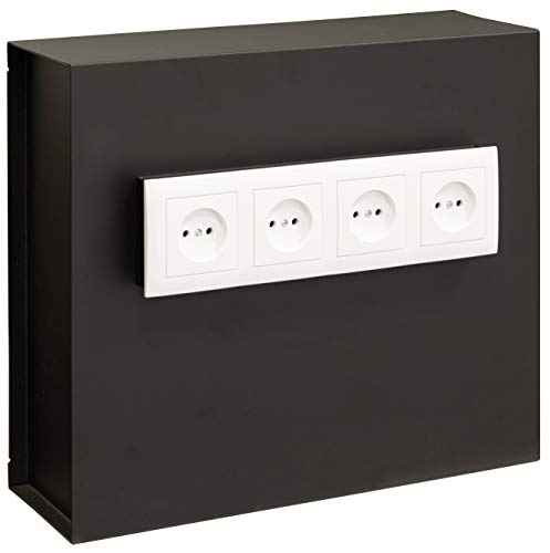 Arregui Socket 23000W-S2 Wandtresor, Getarnt hinter der Steckdosenplatte, 35x40x13 cm, 15 L, schwarz