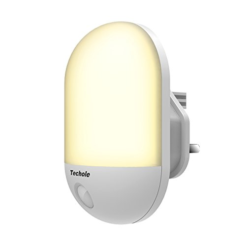 Techole LED Night Light, Night Light Plug in Wall with Dusk to Dawn Photocell Sensor, Plug in Night Light for Baby, Kids, Children's Room, Hallway, Nurseries, Stair, etc-Warm White [Energy Class A++]