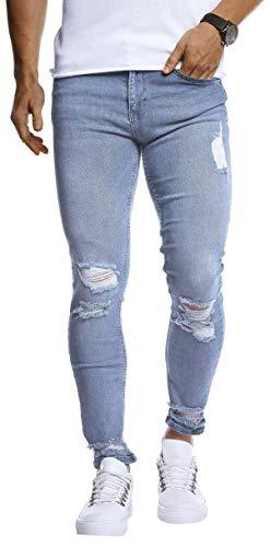 Leif Nelson Herren Jeans Hose Slim Fit Denim Blaue graue Lange Jeanshose für Männer Coole Jungen weiße Stretch Freizeithose Schwarze Cargo Chino Sommer Winter Basic LN9145 Hell Blau W32/L30