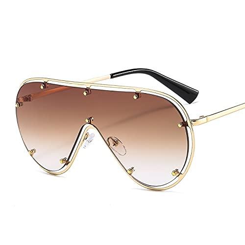 FEINENGSHUAInstyj Gafas Sol Mujer, Forme Gafas de Sol ovaladas de Gran tamaño Femenino Retro Espejo Remache Gafas de Sol Gafas de conducción (Lenses Color : Brown)