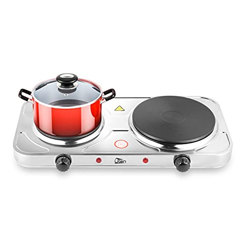 Uten Double Hot , Double Electric Hotplate , Stainless Steel Premium Hotplate , 5 Levels Separate Thermostat Control, Control Lights , High Stability , Silver (1x18.5cm, 1x15.5cm) , 2500W Stove