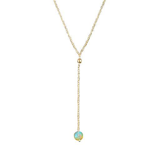 OOAK by Virat Halskette mit natürlichen Opal-Kristallen, handgefertigt, zierlicher Schmuck, Geburtsstein Oktober, 14 Karat vergoldetes Sterlingsilber, Kette 45,7 cm