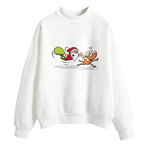 Mode Dame Weihnachts Pullover T-Shirt Mit Weihnachtsmotiv Sweatshirt Einfarbige Rollkragenjacke Karnevalsgeschenk Kleidung Sport Top Sportswear Hoodie Frau Kapuzenpullover Bluse