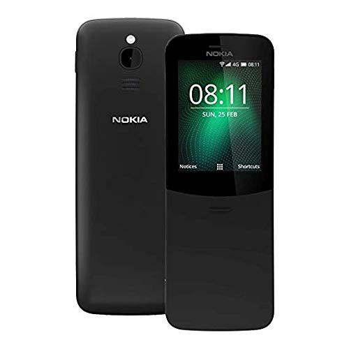 Nokia 8110 Mobiltelefon, Dual-SIM, arabische und spanische Tastatur, Display mit 6,22cm (2,45Zoll), 4GB Speicher, 2-MP-Kamera, Schwarz