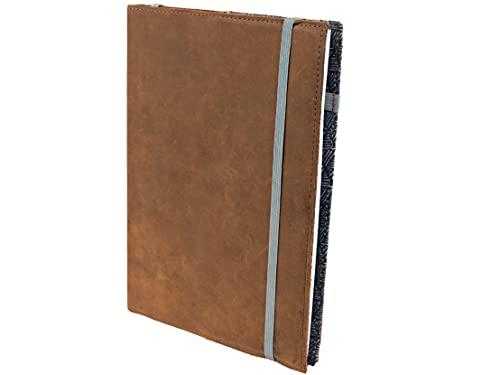 skaard | Cuaderno de Cuero | dinA5 | Diseño Azul | Papel de Puntos | Recargable