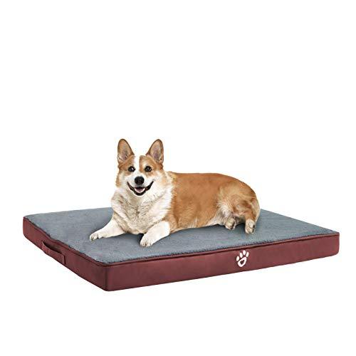 FRISTONE Orthopädisches Hundebett für Kleine Mittlere Große Hunde, Waschbar Hundematratze, Eierkistenform Schaum Hundekissen mit Abnehmbarem Bezug,XL,Rot
