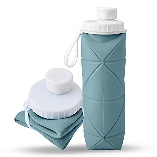 Botella De Agua Silicona Plegable Reutilizable, 600 ml Copas de Viaje Plegable...