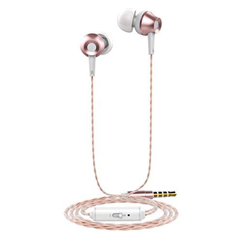kingko® Wired Fashion Bass Stereo In Ear Kopfhörer Sport Kopfhörer mit Line gesteuerten MIc (Rosen-Gold)
