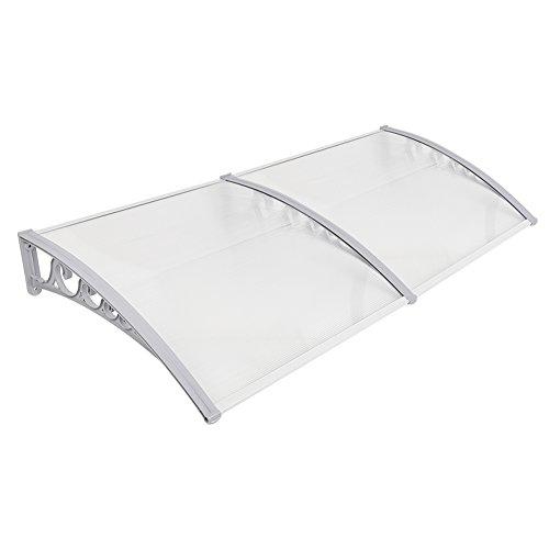 Luifel voordeur, kunststof, aluminium, gebogen luifel, luifel, transparant, raamluifels (Wit, 100x200cm)
