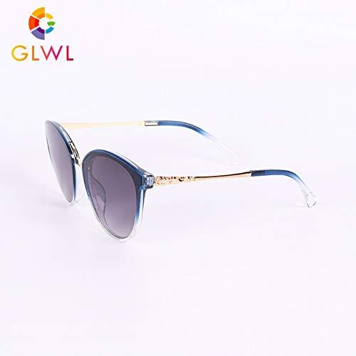 YLBHD Übergroße Sonnenbrillen Frauen Polarisierte Vintage Sonnenbrillen Schwarz Shades Luxusbrillen Cat Eye Brille Goldlegierung