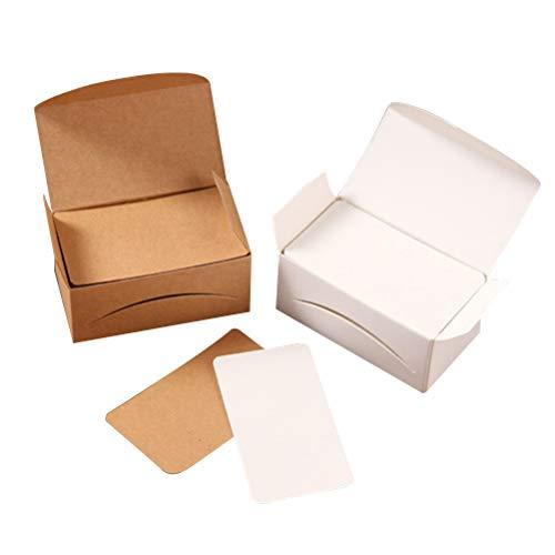 NUOBESTY, 200 pezzi piccoli cartoncini vuoti, carta kraft per biglietti da visita, ideale come biglietto di auguri, fai da te (100 biglietti bianchi + 100 carta kraft)