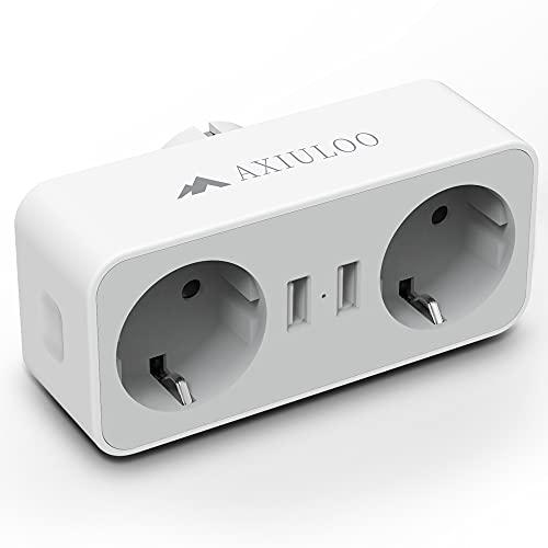 AXIULOO Ladron Enchufes USB, 4 en 1 Enchufe Multiple con Doble USB Cargador (2.4A) y 2 Tomas AC, Enchufe USB Pared Adaptador Enchufe Multiplicador Compatible con Phone, Oficina, Cocina, Pad