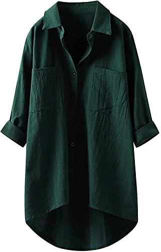 Liuhong Blusa de Lino de Las Mujeres de Alta Baja Camisa de Manga Enrollable más tamaño botón Abajo Camisa túnica de Gran tamaño con Bolsillos (Green,XL)