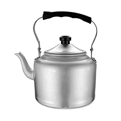 Liu Yu·casa creativa Cafetera para Acampar, hervidor de té con Silbato de Aluminio para Estufa, Mango ergonómico Tradicional Resistente al Calor, Apto para Gas (Color : Silver, tamaño : 3L)