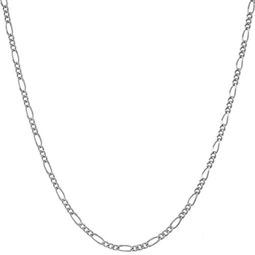 Lifetime Jewelry 1.5mm Figaro Chain Necklace Women and Men 24k Real Gold Plated (White Gold, 22)