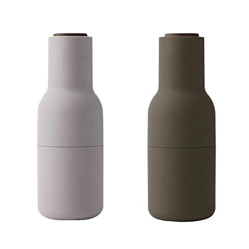 Bottle Grinder Mühle 2er Set Deckel Nussbaum, grün beige Deckel aus Walnuss H 20,5cm Ø 8cm