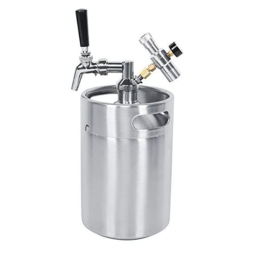 N\C Barril de Cerveza 5L Acero Inoxidable Elaboración casera Mini Barril de Cerveza Dispensador de Lanza Grifo Medidor de presión de 2 Clases Chen