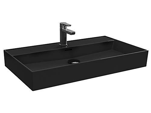Aqua Bagno | Waschbecken 80 im modernen Loft Air Design | Eckig | Wand-Waschbecken | Möbelwaschbecken | Waschtisch aus Keramik | schwarz matt| 805 x 465 x 130 mm
